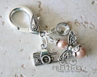 Photographer Angel Keychain Charm, Angel Keyring Charm, Camera Keychain Charm, Camera Key Charm, Photographer Gift, Photographer Accessory