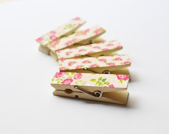 Rose Clothespins Wooden Clips - Set of 10