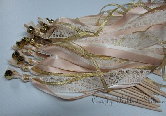 Metallic Foil Streamer Wands : 75 Metallic Ribbon Wedding Wands Quadruple Lace Ribbon Bells Gold or