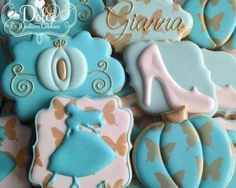 Cinderella Princess Themed Birthday Cookies