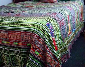 Colourful Kingsize hmong hilltribe bedspread