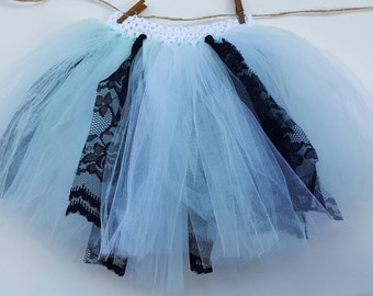 Mint green, white and black tutu
