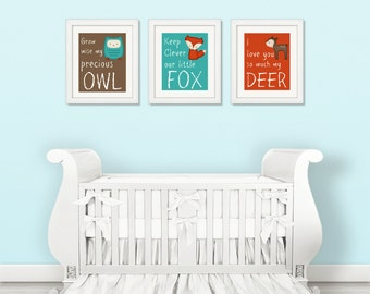 WOODLAND NURSERY DECOR -Woodland Nursery Print Set - Woodland Animals -  3 Piece 8x10 Print Set Unframed