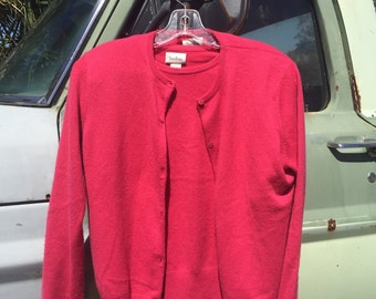 Vintage Neiman Marcus two piece pink cashmere sweater and cardigan womens L