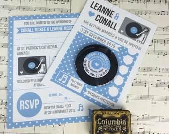 Wedding Vinyl Record Invitations with Magnets - Vintage Vinyl Record Design (Complete With Backing Postcards) x 40