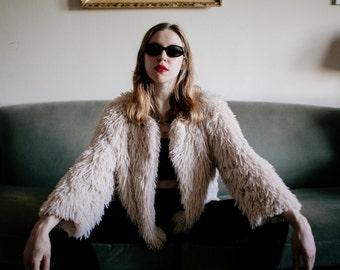 Bohemian Cream Faux Fur Jacket 3/4 Sleeve