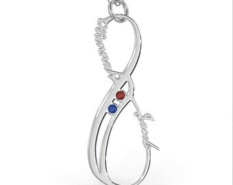 Vertical Infinity Necklace with Birthstone in Sterling Silver