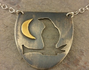 Raven in the Moonlight Sterling Silver Necklace