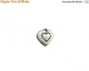 SALE 10 Silver Small Heart Charms - 10mm