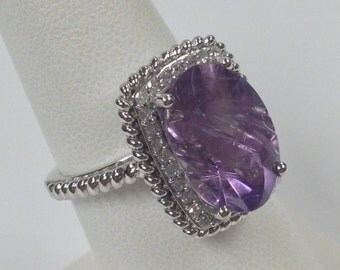 Natural Amethyst with Natural Diamond Ring 925 Sterling Silver