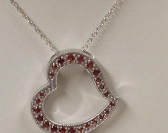 Natural Garnet Heart Necklace 925 Sterling Silver