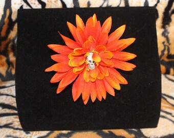 Halloween Orange flower with Skull Detail Burlesque Pinup Goth