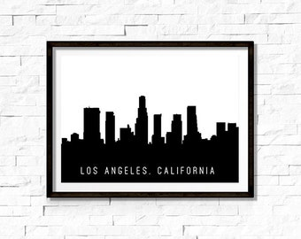 Printable Wall Art - Los Angeles Skyline Silhouette, Black - Instant Download