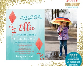 Kite Birthday Invitation - Printable - FREE pennant banner and thank you card with purchase