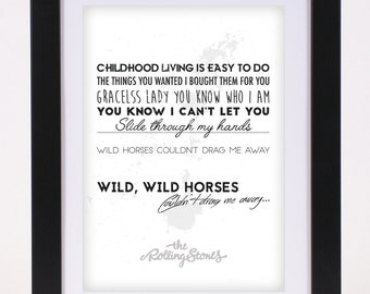 The Rolling Stones 'Wild Horses' Printed Lyrics Poster - available in A4 and A3 // Gift Ideas // Rock // Typography