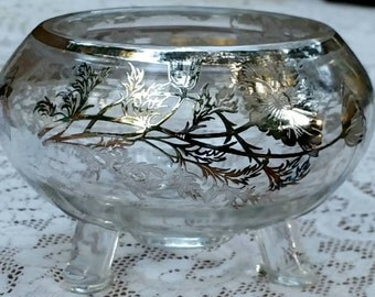 Small Silver City Floral Sterling Overlay Footed Glass Bowl circa 1950s