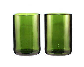 Set of Two 14 oz Dark Green Wine Bottle Glasses with Optional Etching