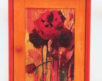 wooden decoupaged key holder box,poppy flowers,wooden cabinet,wooden key box,key holder,key cupboard,wooden key box,key holder box
