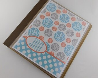 Girl baby Book modern baby memory book orange blue flower personalized baby scrapbook L102