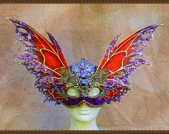 Adult Fairy Wings**Opaque Orange/Purple/Gold Wings & Mask**FREE SHIPPING**Costume/Masquerade/Cosplay/Weddings