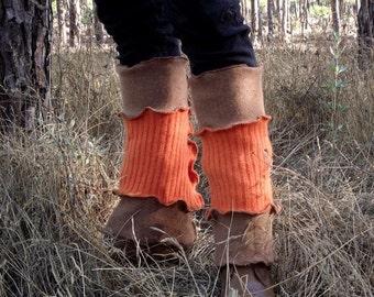 SALE Upcycled Leg Warmers Recycled Fair Sweater Womens Leg Warmers Boho Gypsy