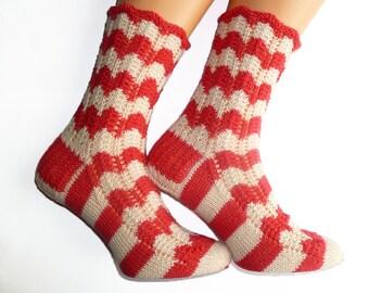 Women Socks | Wool Socks | Lace Socks | Hand Knit Socks | White Red | Leg Warmers Striped