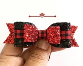 Glitter Bow, Red and black Plaid Hair Clip, Plaid Bows, Christmas Headband,Red and Black Glitter Hair clip,baby girl headband,Toddler clip