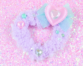 MADE TO ORDER-Lavender hair clip-mint and lavender-sweet lolita accessory-fairy kei-clip-hair accessory-heart cabochon-iridescent-pearls