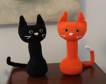 Handmade Stuffed Cat - Black Cat Amigurumi - Kitten Stuffy Custom Colors - Gift for Cat Lover