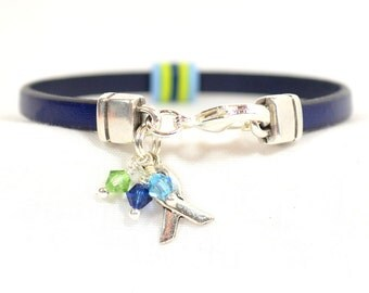 Charcot-Marie-Tooth (CMT) Awareness Bracelet - Blue 5mm Flat Leather Bracelet with O-Rings and Crystals in CMT Colors,Lobster Clasp (434)
