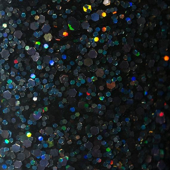 Black Holographic Glitter Nail Polish: Black Holographic Glitter Nail Polish / Onyx Holo Glitter