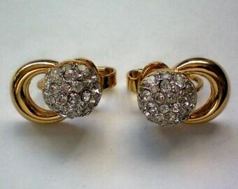 Trifari Pave Rhinestone Clip Earrings - 4368