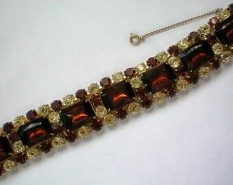 Fabulous Glitzy Amber Rhinestone Link Bracelet - 4403