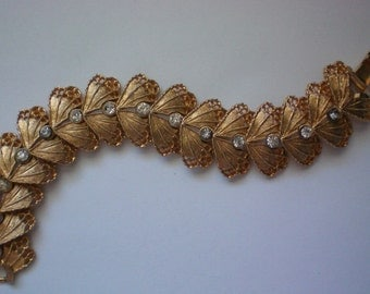 Gold tone Filigree Link Bracelet with Rhinestones - 4480