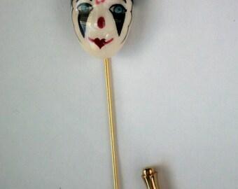 Mardi Gras Ceramic Clown Stick / Lapel Pin - 4602