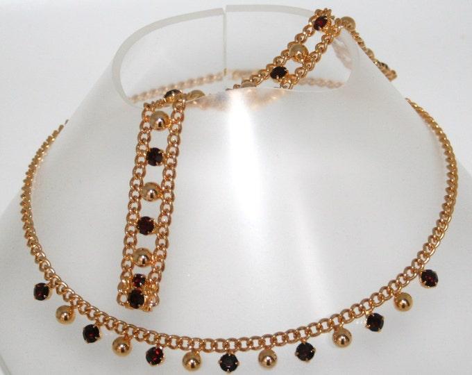 Vintage Ruby Red Rhinestone Necklace Bracelet Gold Plated Czechoslovakia