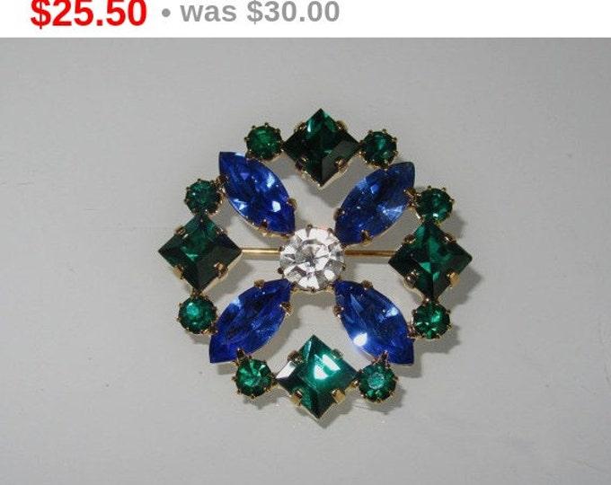 Geometric Vintage Pin Brooch Green Blue Rhinestones Czechoslovakia Free Shipping