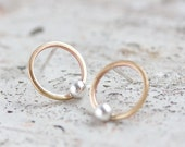 Modern circle stud earrings made of brass and silver - minimal, simple every day earrings