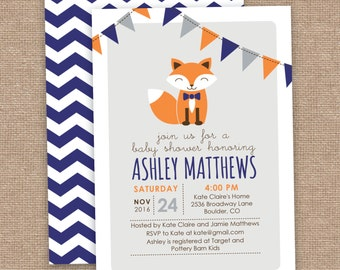 Boy Fox Baby Shower Invitation, Chevron, Orange Navy Gray, DIY Printable