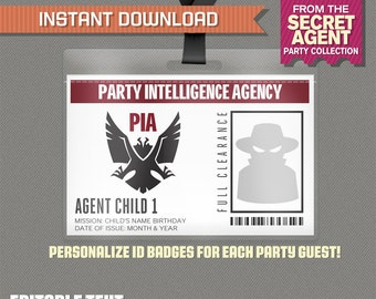 Secret Agent Badge - Spy Birthday Party / Secret Agent Birthday Party - Editable PDF file - Print at home