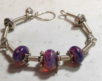 Sterling Silver and Lampworked Glass Beads Bracelet