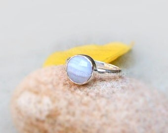 Blue Lace Agate Round Bezel Set Ring Sterling silver Ring Blue Lace Agate Ring Handmade Ring Agate Jewelry Artisan Ring Sz 5 6 7 8 9 10