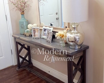 rustic farmhouse entryway table, sofa table, buffet table, console table, farmhouse table.