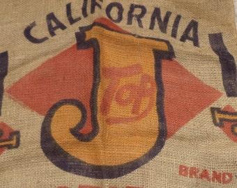 Burlap Sack, Top J Potatoes Sack, Old Barn and Farm Salvage