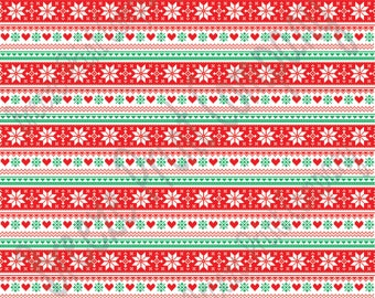 Red, green and white Christmas pattern craft vinyl sheet - HTV or Adhesive Vinyl -  knitted sweater pattern Alpine Nordic HTV3600