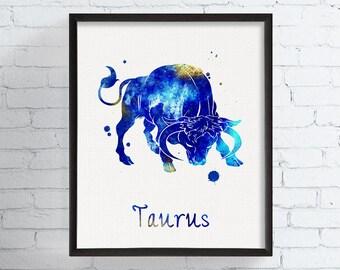 Watercolor Taurus, Taurus Art, Taurus Print, Taurus Sign, Astrology Art, Taurus Zodiac, Birthday Gift, Taurus Gifts, Horoscope, Mithology