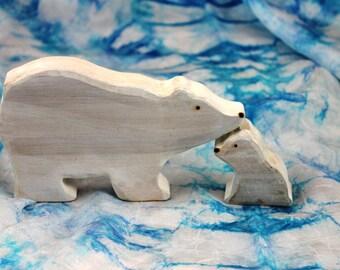 Polar Bear and Cub Wooden Toy - Eco Friendly Waldorf Wood Toy