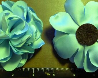 "1 Each 3.5"" Dusty Blue Singed Fabric Flower - Hair Bow Embellishment"