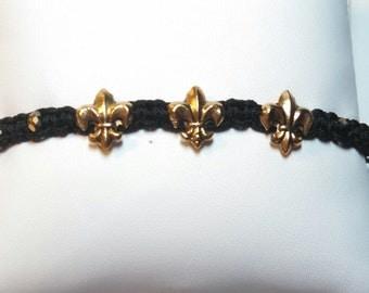 Triple Fleur de Lis, Black and Gold