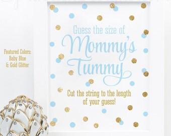 Baby Shower Games - How Big Is Mommy's Belly, Guess The Size of Mommy's Tummy, Baby Blue Gold Glitter Printable Baby Boy Shower Game Ideas